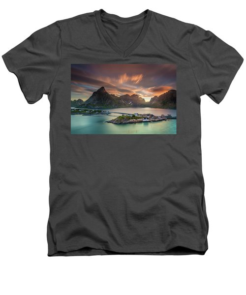 Midnight Sun Galore Men's V-Neck T-Shirt by Alex Conu