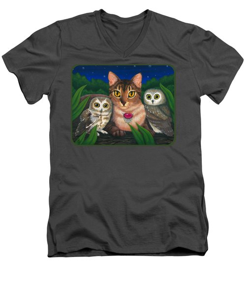 Midnight Watching - Abyssinian Cat Saw Whet Owls Men's V-Neck T-Shirt