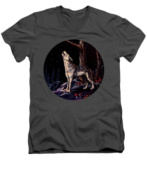 Midnight Wolf Men's V-Neck T-Shirt by Ruanna Sion Shadd a'Dann'l Yoder