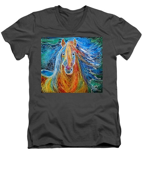 Midnightsun Equine Batik Men's V-Neck T-Shirt