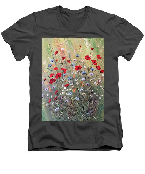 Midsummer Poppies Men's V-Neck T-Shirt by Dorothy Maier