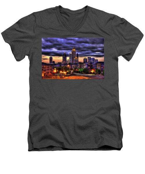 Midtown Atlanta Towers Over Atlantic Commons Men's V-Neck T-Shirt by Reid Callaway