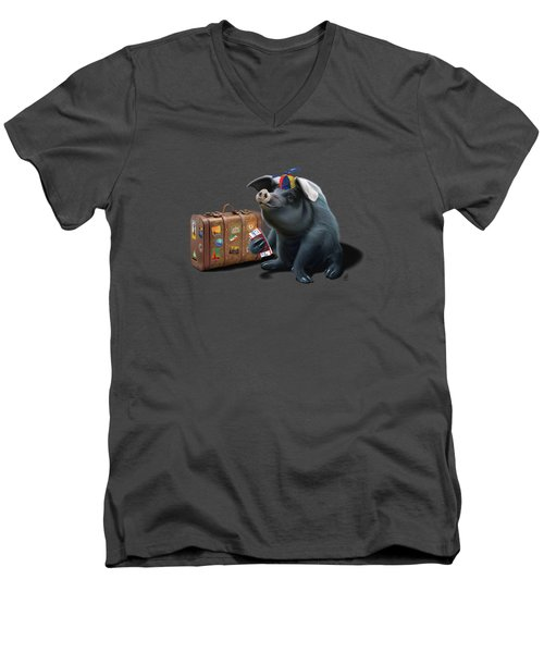 Might Wordless Men's V-Neck T-Shirt by Rob Snow