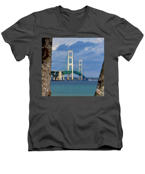Mighty Mac Framed By Trees Men's V-Neck T-Shirt by Keith Stokes
