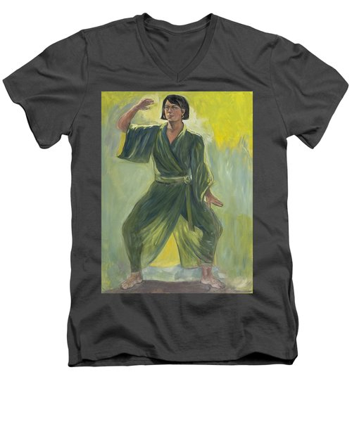 Mighty Woman Kick-butt Men's V-Neck T-Shirt