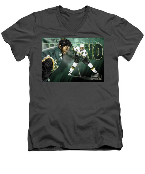 Men's V-Neck T-Shirt featuring the digital art Mike Modano by Don Olea