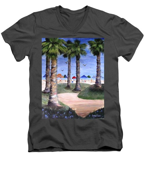 Mike's Hermosa Beach Men's V-Neck T-Shirt by Jamie Frier