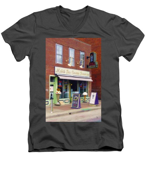 Men's V-Neck T-Shirt featuring the painting Mike's Ice Cream Fountain by Sandy MacGowan