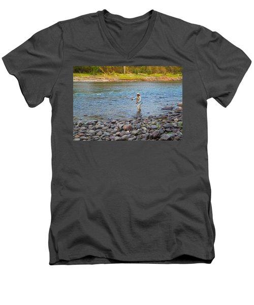 Mike's River-1 Men's V-Neck T-Shirt