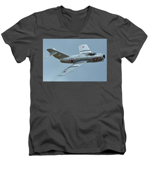 Men's V-Neck T-Shirt featuring the photograph Mikoyan-gurevich Mig-15 Nx87cn Chino California April 30 2016 by Brian Lockett