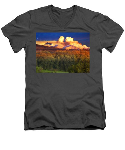 Milagro Cloud Theater Over Truchas Peaks Nm Men's V-Neck T-Shirt
