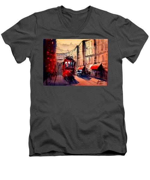 Milan Tram 2 Men's V-Neck T-Shirt