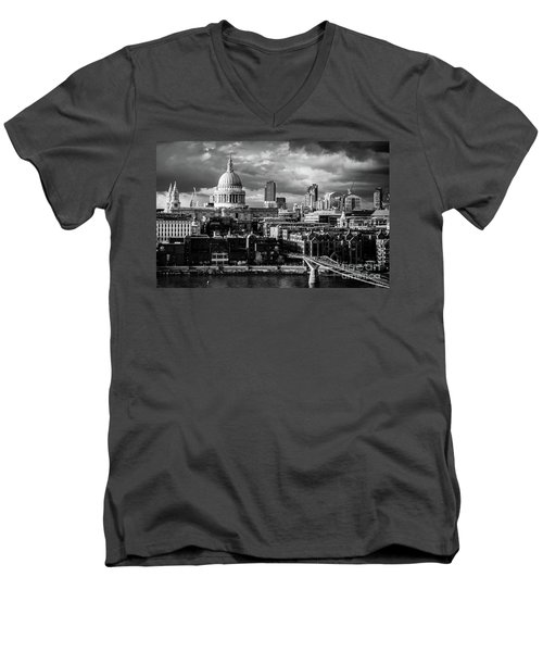 Milennium Bridge And St. Pauls, London Men's V-Neck T-Shirt
