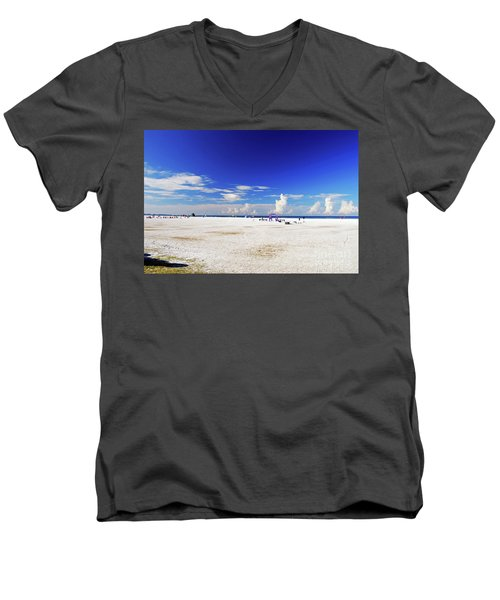 Men's V-Neck T-Shirt featuring the photograph Miles And Miles Of White Sand by Gary Wonning