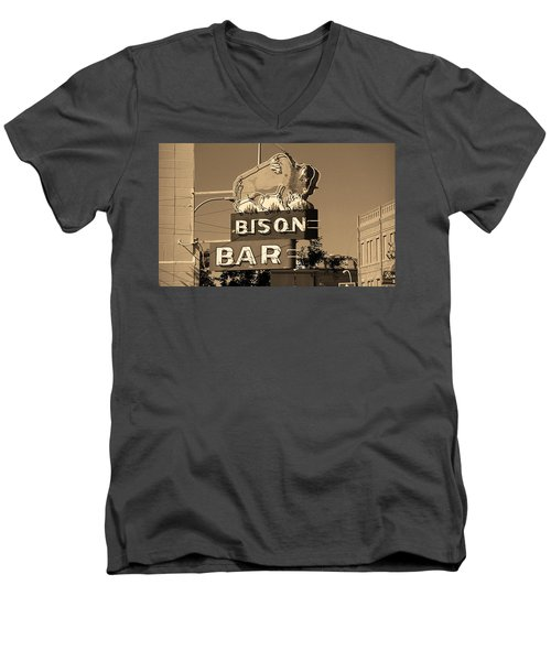 Miles City, Montana - Bison Bar Sepia Men's V-Neck T-Shirt