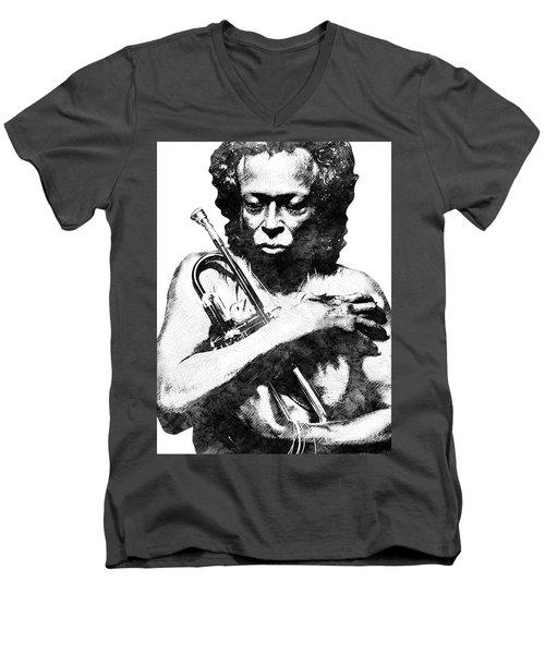 Miles Davis Bw  Men's V-Neck T-Shirt by Mihaela Pater
