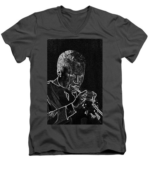 Men's V-Neck T-Shirt featuring the mixed media Miles Davis by Charles Shoup
