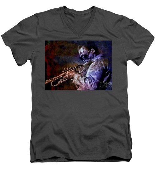 Miles Davis Jazz Legend 1969 Men's V-Neck T-Shirt by Ian Gledhill
