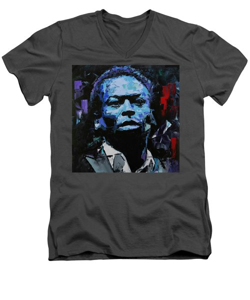 Men's V-Neck T-Shirt featuring the painting Miles Davis by Richard Day