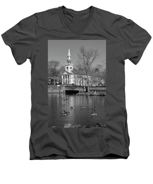 Milford Congregational Church Bw Men's V-Neck T-Shirt