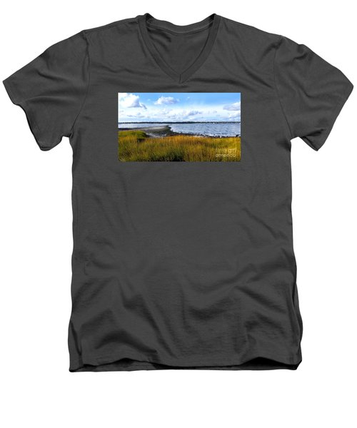 Milford Island Men's V-Neck T-Shirt by Raymond Earley