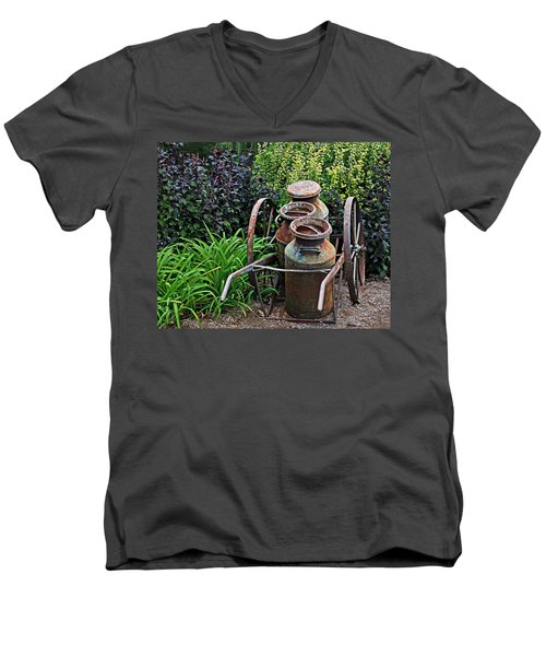 Milk Pails Men's V-Neck T-Shirt by Judy Vincent