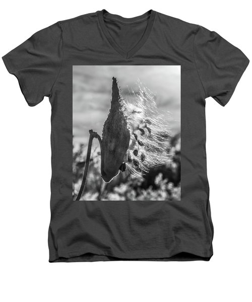 Milkweed Pod Back Lit B And W Men's V-Neck T-Shirt