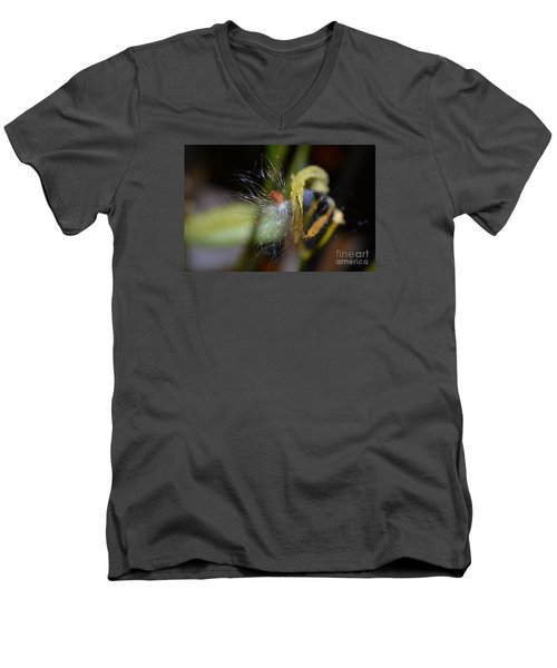 Men's V-Neck T-Shirt featuring the photograph Milkweed Seed by Lew Davis