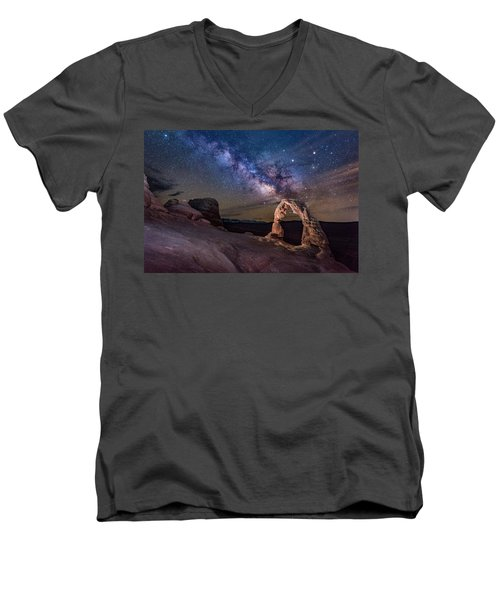 Milky Way And Delicate Arch Men's V-Neck T-Shirt