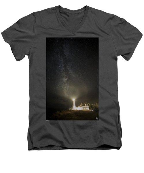 Milky Way At Pemaquid Light Men's V-Neck T-Shirt