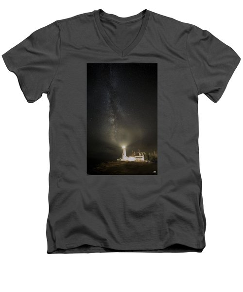 Milky Way At Pemaquid Light Men's V-Neck T-Shirt