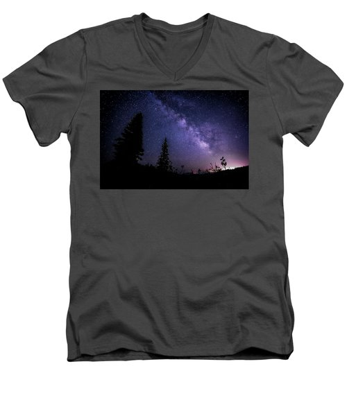 Milky Way At Powder Mountain Men's V-Neck T-Shirt