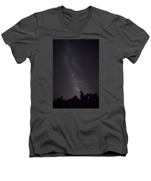Milky Way Galaxy At Arches National Park Men's V-Neck T-Shirt