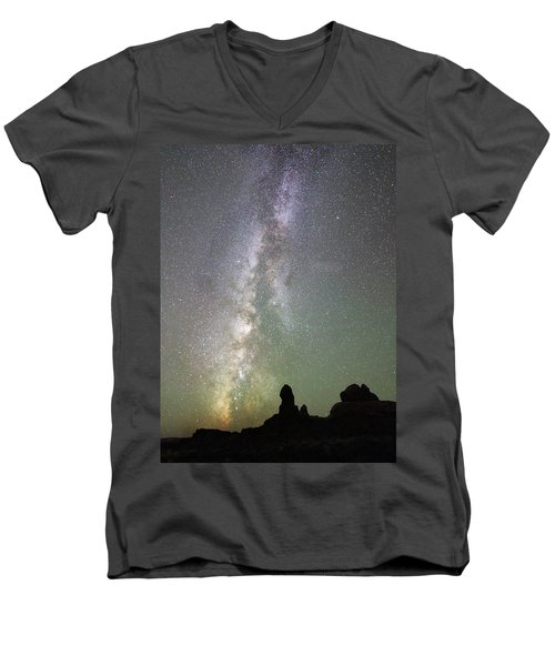 Milky Way Over Arches Np Four Men's V-Neck T-Shirt