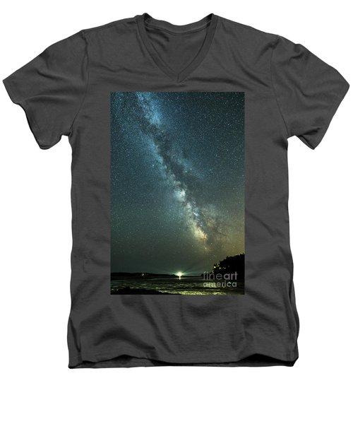 Milky Way Over Clams Flats Men's V-Neck T-Shirt