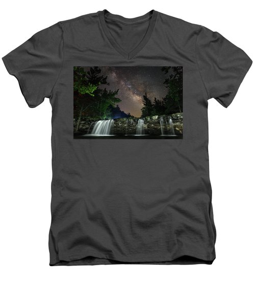 Milky Way Over Falling Waters Men's V-Neck T-Shirt