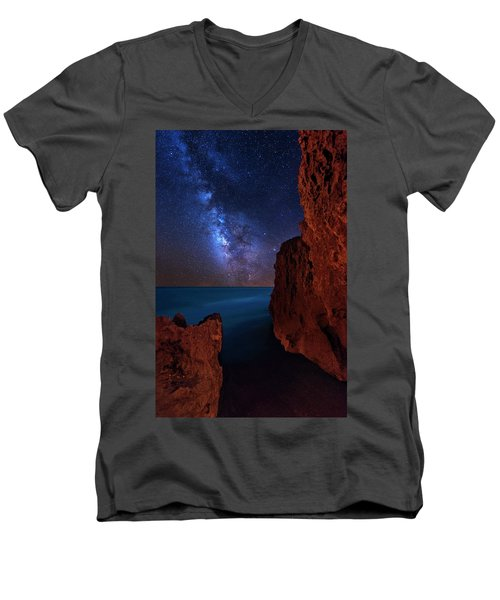 Milky Way Over Huchinson Island Beach Florida Men's V-Neck T-Shirt by Justin Kelefas