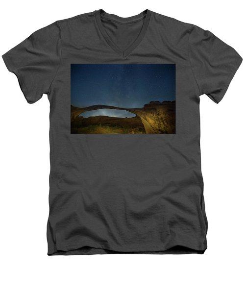 Milky Way Over Landscape Arch Men's V-Neck T-Shirt