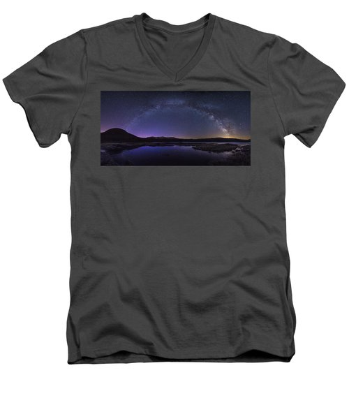 Milky Way Over Lonesome Lake Men's V-Neck T-Shirt