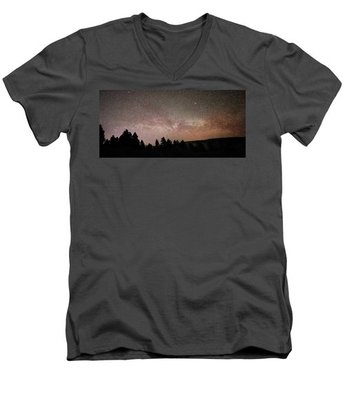 Milky Way Over Mammoth Hot Springs With Pink Glow From Aurora Borealis Men's V-Neck T-Shirt