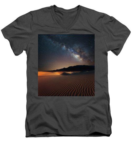 Milky Way Over Mesquite Dunes Men's V-Neck T-Shirt by Darren White