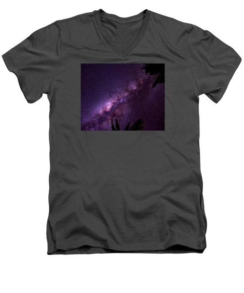 Men's V-Neck T-Shirt featuring the photograph Milky Way Over Mission Beach by Avian Resources
