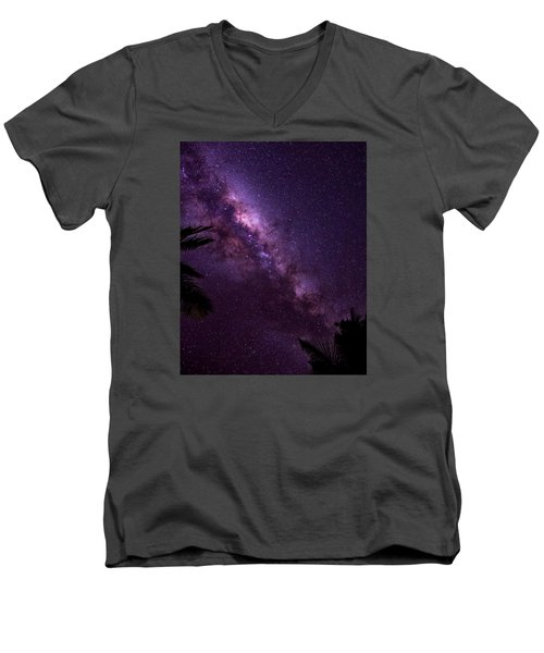 Men's V-Neck T-Shirt featuring the photograph Milky Way Over Mission Beach Vertical by Avian Resources