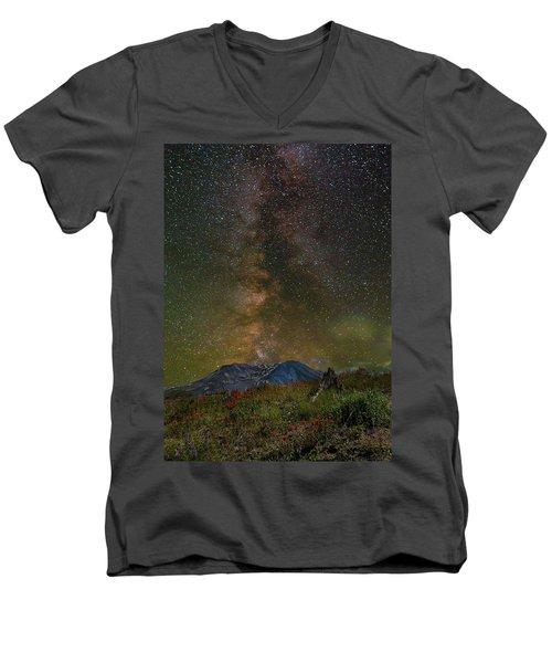 Milky Way Over Mount St Helens Men's V-Neck T-Shirt