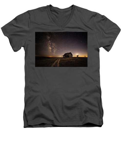 Milky Way Over Prairie House Men's V-Neck T-Shirt by Kristal Kraft