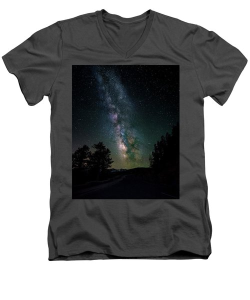 Milky Way Over Rocky Mountains Men's V-Neck T-Shirt