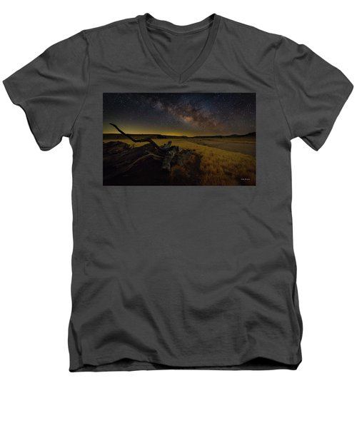 Milky Way Over The Canyon  Ranch Men's V-Neck T-Shirt