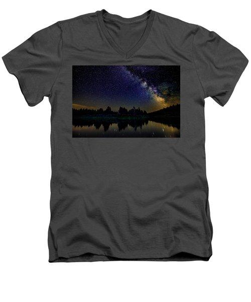 Milky Way Over The Deschutes River - 2 Men's V-Neck T-Shirt