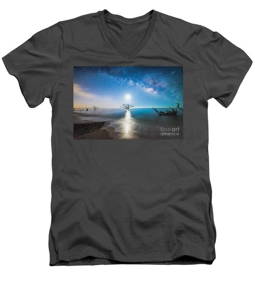 Milky Way Shore Men's V-Neck T-Shirt by Robert Loe