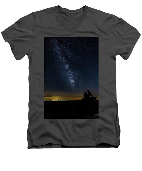 Milky Way Viewed From Rough Ridge Men's V-Neck T-Shirt